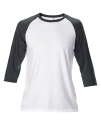 Tri-Blend 3/4 Sleeve Raglan Tee, Anvil 6755 // A6755 White / Heather Dark Grey | XS