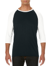 Tri-Blend 3/4 Sleeve Raglan Tee, Anvil 6755 // A6755 Black / White | XS
