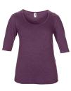 Women??s Tri-Blend Deep Scoop 1/2 Sleeve Tee, Anvil 6756L // A6756L Heather Aubergine   XS