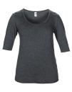 Women??s Tri-Blend Deep Scoop 1/2 Sleeve Tee, Anvil 6756L // A6756L Heather Dark Grey   XS