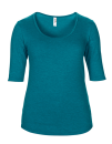 Women??s Tri-Blend Deep Scoop 1/2 Sleeve Tee, Anvil 6756L // A6756L Heather Galapagos Blue   XS