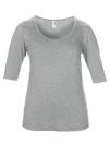 Women??s Tri-Blend Deep Scoop 1/2 Sleeve Tee, Anvil 6756L // A6756L Heather Grey   XS