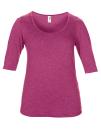 Women??s Tri-Blend Deep Scoop 1/2 Sleeve Tee, Anvil 6756L // A6756L Heather Raspberry   XS