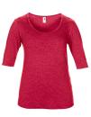 Women??s Tri-Blend Deep Scoop 1/2 Sleeve Tee, Anvil 6756L // A6756L Heather Red   XS