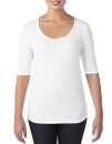 Women??s Tri-Blend Deep Scoop 1/2 Sleeve Tee, Anvil 6756L // A6756L White   XS