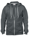 Full Zip Hooded Sweatjacket, Anvil 71600 // A71600 Charcoal (Solid)   S