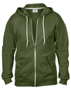 Full Zip Hooded Sweatjacket, Anvil 71600 // A71600 City Green   S