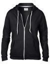 Women`s Full Zip Hooded Sweatjacket, Anvil 71600FL // A71600FL Black | S