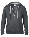 Women`s Full Zip Hooded Sweatjacket, Anvil 71600FL // A71600FL Charcoal (Solid) | S