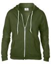 Women`s Full Zip Hooded Sweatjacket, Anvil 71600FL // A71600FL City Green | S
