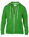Women`s Full Zip Hooded Sweatjacket, Anvil 71600FL // A71600FL Green Apple | S