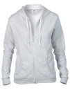 Women`s Full Zip Hooded Sweatjacket, Anvil 71600FL // A71600FL Heather Grey | S