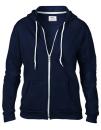 Women`s Full Zip Hooded Sweatjacket, Anvil 71600FL // A71600FL Navy | S