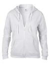 Women`s Full Zip Hooded Sweatjacket, Anvil 71600FL // A71600FL White | S