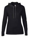 Women`s Lightweight Long Sleeve Hooded Tee, Anvil 887L // A887L Black   S