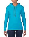 Women`s Lightweight Long Sleeve Hooded Tee, Anvil 887L // A887L Caribbean Blue   S