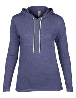 Women`s Lightweight Long Sleeve Hooded Tee, Anvil 887L // A887L