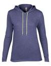 Women`s Lightweight Long Sleeve Hooded Tee, Anvil 887L // A887L Heather Blue   S