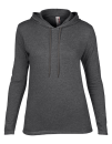 Women`s Lightweight Long Sleeve Hooded Tee, Anvil 887L // A887L Heather Dark Grey   S