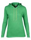 Women`s Lightweight Long Sleeve Hooded Tee, Anvil 887L // A887L Heather Green   S