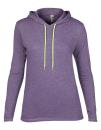 Women`s Lightweight Long Sleeve Hooded Tee, Anvil 887L // A887L Heather Purple   S