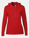 Women`s Lightweight Long Sleeve Hooded Tee, Anvil 887L // A887L Red   S