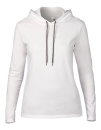 Women`s Lightweight Long Sleeve Hooded Tee, Anvil 887L // A887L White   S