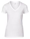 Women`s Lightweight V-Neck Tee, Anvil 88VL // A88VL White | S