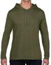 Lightweight Long Sleeve Hooded Tee, Anvil 987 // A987 Heather City Green   S