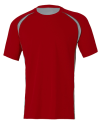 Unisex Colorblock Short Sleeve Tee, All Sport M1004 // ALM1004 Sport Scarlet Red / Grey (Solid) / Slate | S