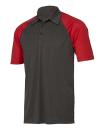 Unisex Performance 3-Button Raglan Polo, All Sport M1829 // ALM1829 Dark Grey Heather / Sport Red | XS