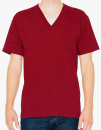 Unisex Fine Jersey V-Neck T-Shirt, American Apparel 2456W // AM2456 Cranberry   XS