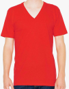 Unisex Fine Jersey V-Neck T-Shirt, American Apparel 2456W // AM2456 Red   XS