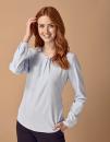 Ladies Pleat Front Long Sleeved Blouse, Henbury H598 // W598
